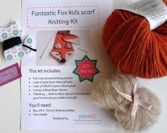 KNITTING KIT kids winter scarf Fantastic Fox. Knitting pattern including yarn. Knit your own scarf. Terra, dark gray, beige & pink colors.