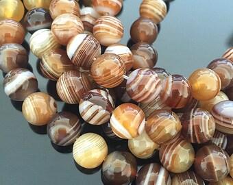 Brown Sardonyx Beads, Genuine Sardonyx, Gemstone Mala Beads, Brown and White Stone Beads, Natural Sardonyx Beads, 8mm - 24 beads (ST-21)