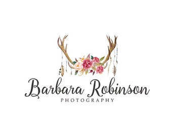 Deer antler logo rustic logo premade logo design bohemian logo photography logo floral logo