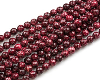 Gorgeous Aggie Maroon Jade, High Quality in Faceted Round- 6mm, 8mm, 10mm, 12mm
