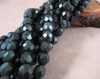 POLYCHROME MALLARD 6mm Polychrome Aqua Teal Firepolish Czech Glass Faceted Round Beads - Dark Green Metallic - Qty 25 (6-119)