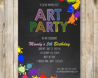 Chalkboard ART Party Invitation, PAINT and Play Girl Boy 5th BIRTHDAY Party Invite, Rainbow Colorful Painting Invite, Diy Digital Printable