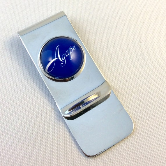 JW Stainless Steel Money Clip in 6 glass embedded designs! Best Life Ever, Warwick, Watchtower, Agape, JW, Brooklyn Bridge