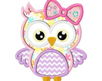 Girl Owl Applique Design dst, exp, hus, jef, pes, sew, vip, vp3, Formats Digital INSTANT DOWNLOAD