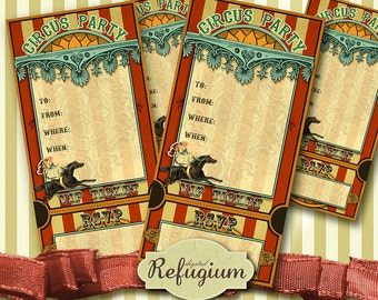 printable Circus Party Invitation Card INSTANT DOWNLOAD, Digital Collage Sheet