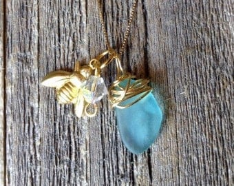 14k Gold Chain with Sea Glass and Bumble Bee Necklace