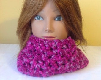 Magenta And Purple Chunky Cowl