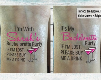 Bachelorette Party Temporary Tattoos Bachelorette Tattoos - If I'm Lost, Please Buy Me A Drink - Wedding Tattoo - Bachelorette Favor
