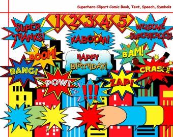 Unique Superhero Clipart,Comic Book Digital Clip Art,Text,Speech,Bubbles,Photobooth Props,Birthday,party decoration,super hero