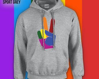 Gay Pride Peace sign adult unisex hoodie, crewneck,campfire shirt,gay pride sweater, gay pride hoodie, gay pride apparel,LGBTQ hoodie CT-491
