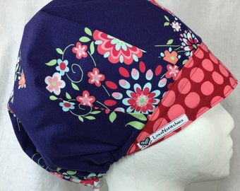 Midnight Bouffant Scrub Hat Surgical Caps for Women Amy Butler Love Purple Red Lovenstitches Flowers OR Surgery Nurse Tech