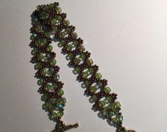 Handmade Beaded Bracelet with Green Fire Polished Beads