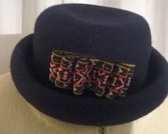 Dark blue color felt hats