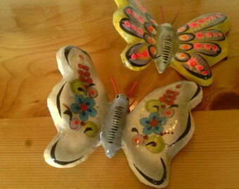 Two Paper Mache Butterfly Wall hangers Made In Mexico