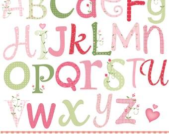 garden of love alphabet, printable digital clipart set