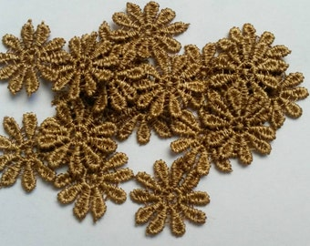 50 Pieces 9 Colors GOLD Blue Green Pink Red Purple Yellow Fower Applique Flower Patch Sew On