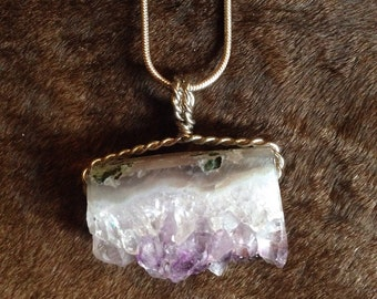Amethyst wire wrapped slice pendant