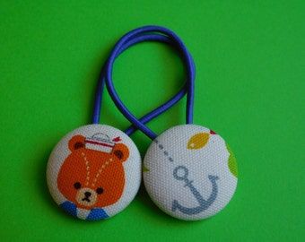 Sailor Bear and Anchor - Fabric Button Hair Ties
