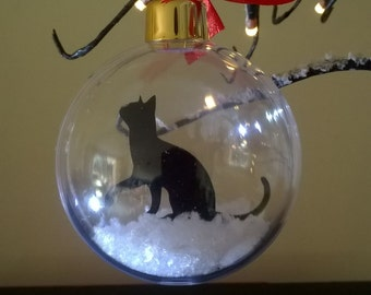 Single Cat Silhouette in the Snow Acrylic Bauble can be Personalised