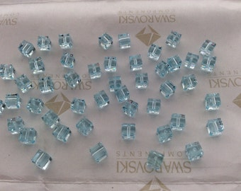 24 pieces Swarovski #5601 4mm Crystal Light Azore Cube Square Faceted Beads