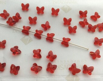 36 pieces Swarovski #5754 6mm Crystal Light Siam Red Butterfly Faceted Beads