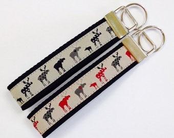 Jacquard Rustic Moose Key Fob/Lanyard,Woods Cabin Key Ring/Luggage/Backpack Tag,Teacher Badge/Whistle Holder,Souvenir, Rustic Hunter Lanyard