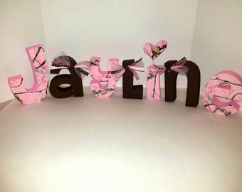Pink camo wood name letters - pink camo letters - camo letters - wood letters - wood name letters - camo decor  - PRICE PER LETTER