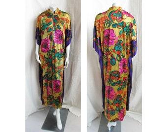 Vintage 1970s Caftan Vivid Floral Print Bohemian Dress