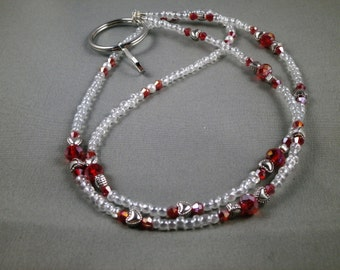 "Unique beaded breakaway lanyard necklace with bead chain 32"" to 40""  long  ID badge holder leash ,magnetic , toggle ,no clasp , unique"