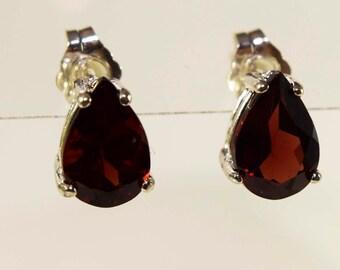 Sterling Silver Garnet Pear Shaped Stud Earrings