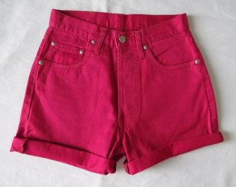 High waisted shorts, vintage 80s fushia pink denim jean shorts, cut off cuffed hotpants, waist 25 small