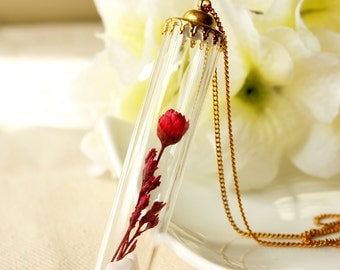 Tube / necklace / red / Terrarium Necklace, Natural Dried Flower, Glass Miniature Bottle, Real Flower Necklace, Plant Necklace, Gift for her