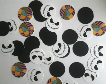 Nightmare before Christmas table confetti 50 or 100 pc Jack and Sally with black Circles 1""