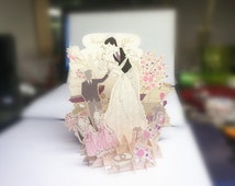 3D Pop up card Sweet Wedding Scene Special gift Paper cutout craft greeting congratulation love cards