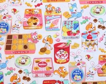 fat quarter, 1/2 meter / Japanese fabric / kawaii fabric / retro fabric / kitch fabric / rabbit fabric / animal fabric / sweets fabric /