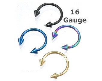 Titanium Horseshoe Spike Circular Barbell Body Jewellery - Choose Your Colour