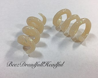 Faux opal Swirl and Band Dread Beads