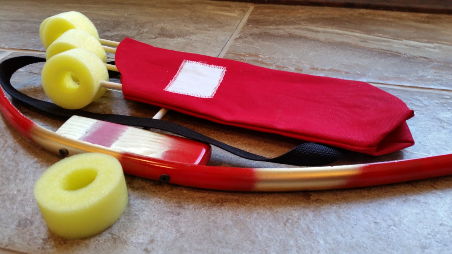 Mini red gold kids bow with quiver bag super hero bow for Kids pvc bow