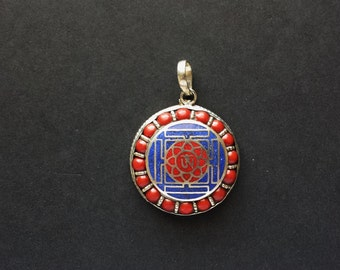 Tibetan Pendent Lapis and Coral