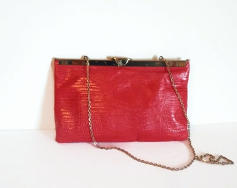Vintage 1960's Signed Etra Red Leather Purse/Clutch, Vintage Purses/Handbags