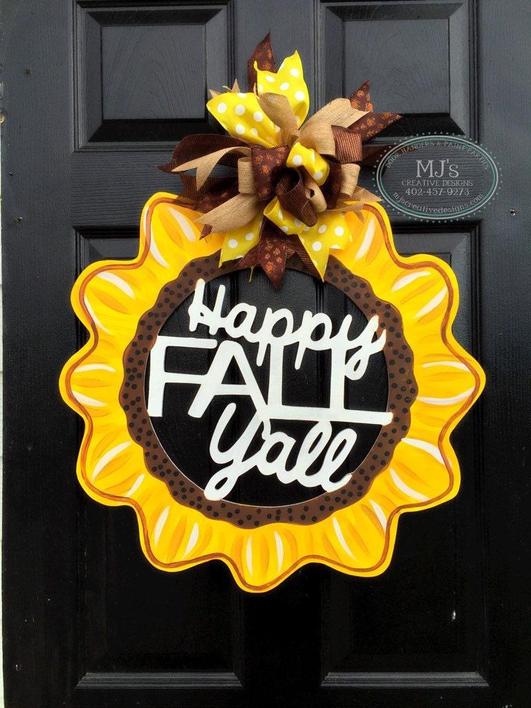 Fall Door Hanger- Sunflower Door Hanger, Happy Fall Yu0027all, Fall Door Decor,  Colorful Fall Decor, Sunflower Wall Art, Wooden Sunflower Hanger
