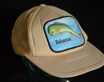 Vintage Bahamas Dolphin Tuna Mesh Snapback Baseball Cap Hat (One Size Fits All)