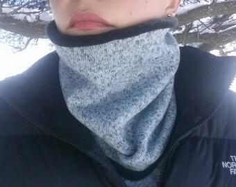 Heather grey sweater fleece neck gaiter/neck warmer