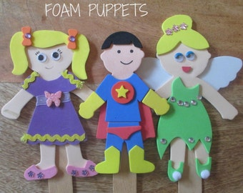 Foam Puppets, DIY Party Craft, Party Supplies