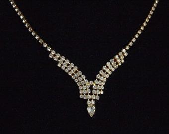 Vintage Rhinestone Necklace,Delicate Necklace,Gold Tone Neckalce