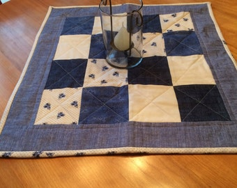 Navy & Cream Quilted Table  Square
