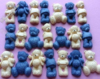 22 Edible sugar AIRBRUSHED baby shower decorations teddy bears cake toppers NAVY/CREAM