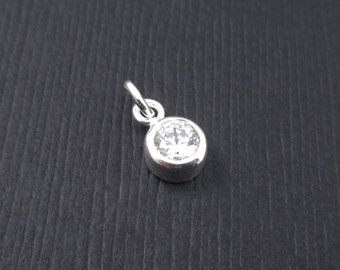 Add a Birthstone Charm Dangle - April Birthstone Charm Sterling Silver, Clear CZ Charm Dangle