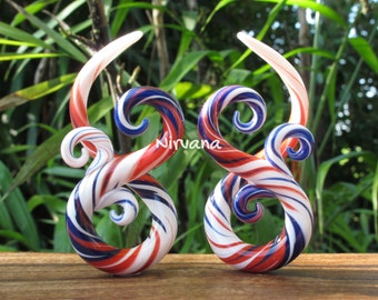 "Blue Lapis, White & Red Free Style Bonita Spirals Glass 6g 4g 2g 0g 00g 7/16"" 1/2"" 9/16"" 5/8"" 4 mm 5 mm 6 mm 8 mm 10 mm - 16 mm"