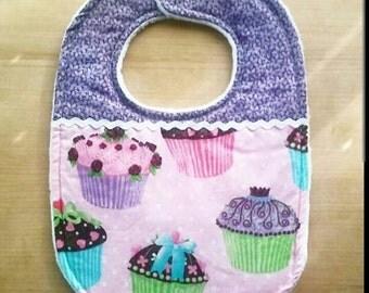 Purple and Pink Cupcake Theme Baby bib
